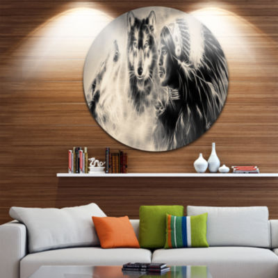 Design Art Indian Warrior with Wolves Disc Large Contemporary Circle Metal Wall Arts