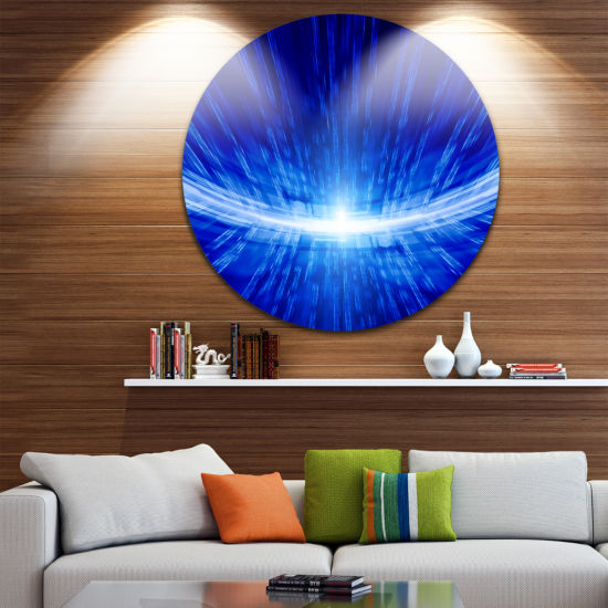 Design Art Glowing Blue Lines Abstract Circle Metal Wall Art