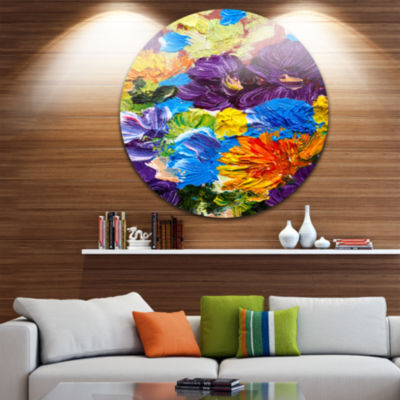 Design Art Heavily Textured Abstract Flowers Abstract Circle Metal Wall Art