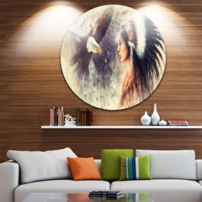 Design Art Indian Woman and Eagle Disc Portrait Circle Metal Wall Art