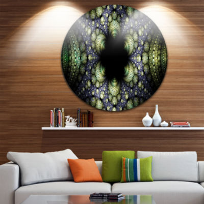 Design Art Into the Center of Fraction Abstract Circle Metal Wall Art