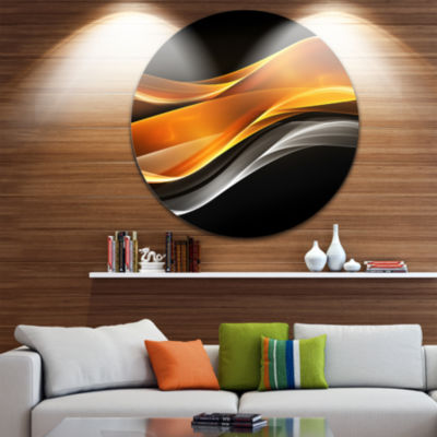 Design Art Gold Pink Inward Waves Abstract CircleMetal Wall Art