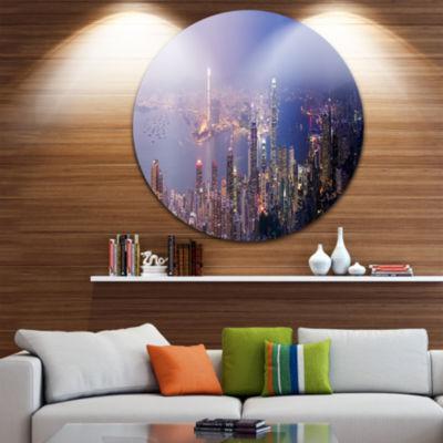 Design Art Hong Kong from Day to Night Cityscape Photo Circle Metal Wall Art
