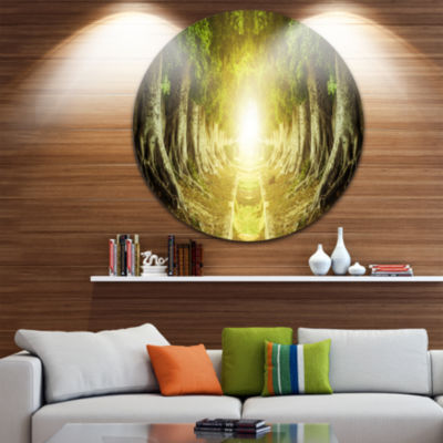 Design Art Green Tree Tunnel Landscape Photo Circle Metal Wall Art