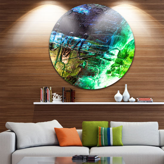Design Art Green Blue Abstract Structure AbstractCircle Metal Wall Art