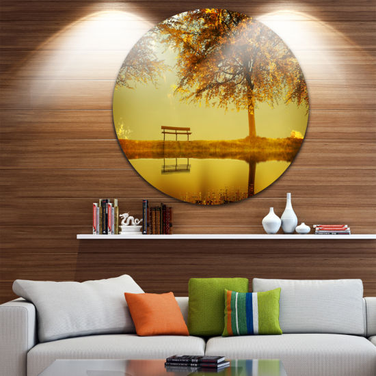 Design Art Golden Planet Disc Landscape Photography Circle Metal Wall Art