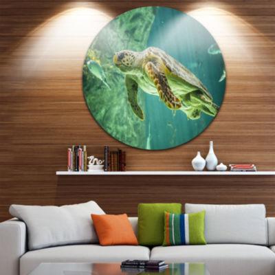 Design Art Huge Turtle Swimming Animal Circle Metal Wall Art