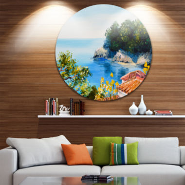 Design Art House near the Sea Large Landscape Metal Circle Wall Art