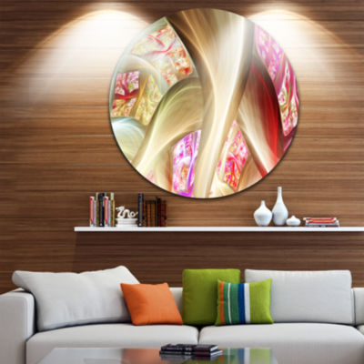 Design Art Golden Red Fractal Plant Stems AbstractRound Circle Metal Wall Art
