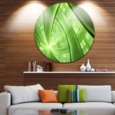 Design Art Green Fractal Exotic Plant Stems Abstract Round Circle Metal Wall Art