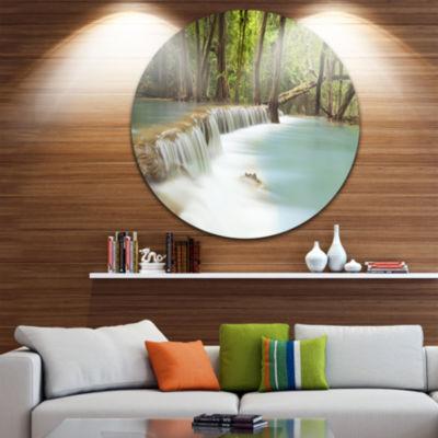 Design Art Huai Mae Kamin Waterfall Large Photography Circle Metal Wall Art