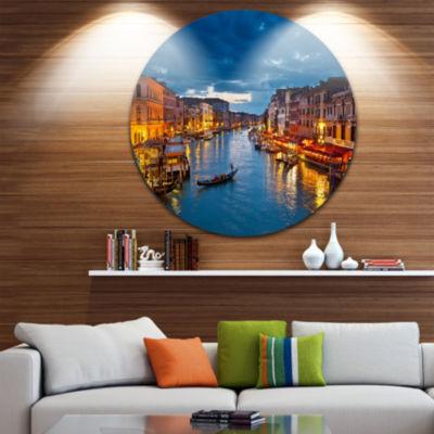 Design Art Grand Canal at Night Venice Disc Cityscape Photo Circle Metal Wall Art