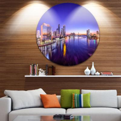 Design Art Jacksonville Florida City Cityscape Disc Photography Circle Metal Wall Art