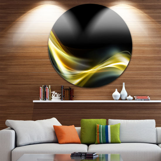 Design Art Gold in Black Upward Lines Abstract Circle Metal Wall Art