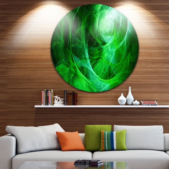 Design Art Green Stormy Sky Texture Abstract Circle Metal Wall Art