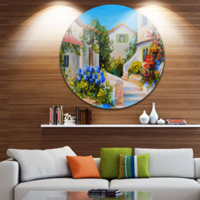 Design Art Houses near Sea Landscape Circle MetalWall Art