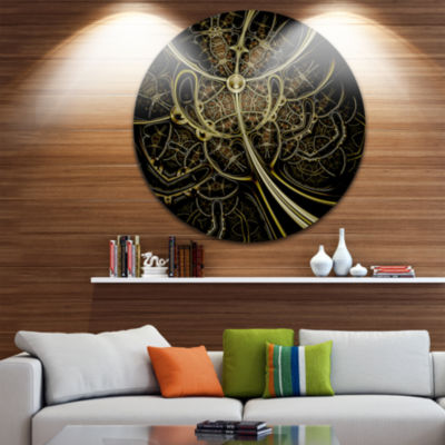 Design Art Gold Metallic Fabric Pattern Disc LargeContemporary Circle Metal Wall Arts