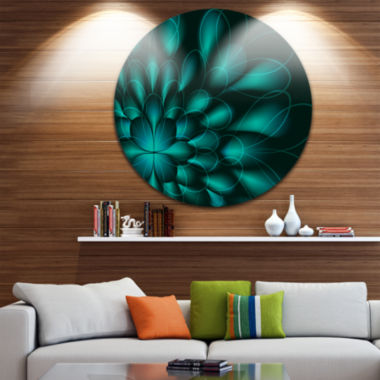 Design Art Green Fractal Flower on Black AbstractRound Circle Metal Wall Decor