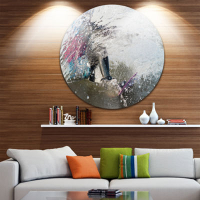 Design Art Guy on a Wakeboard Disc Landscape Circle Metal Wall Art