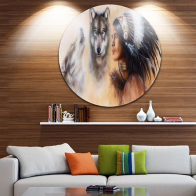 Design Art Indian Warrior with Two Wolves Disc Animal Circle Metal Wall Art