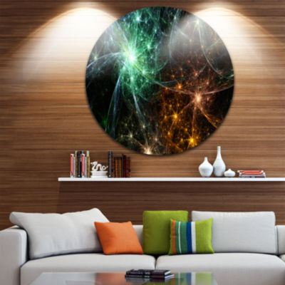 Design Art Green Orange Colorful Fireworks Abstract Round Circle Metal Wall Decor