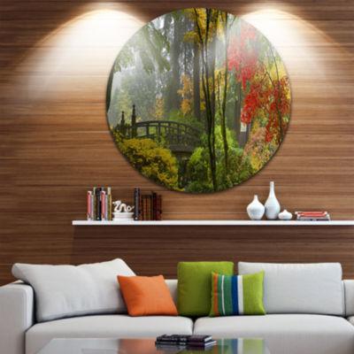 Design Art Japanese Wooden Bridge in Fall Disc Photography Circle Metal Wall Art