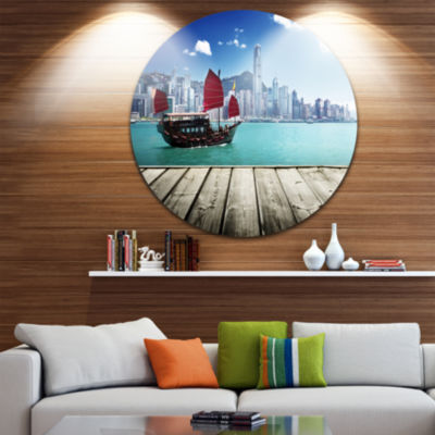 Design Art Hong Kong Harbor Disc Photography Circle Metal Wall Art