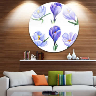 Design Art Hand drawn Crocuses Disc Floral Metal Artwork