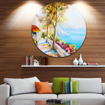 Design Art House and Sea in the Fall Landscape Circle Metal Wall Art
