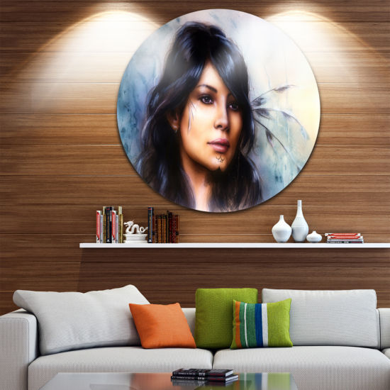 Design Art Indian Woman with Ornament Tattoo DiscPortrait Circle Metal Wall Art