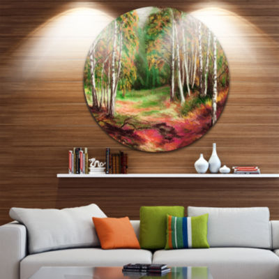 Design Art Green Autumn Forest Landscape Metal Circle Wall Art