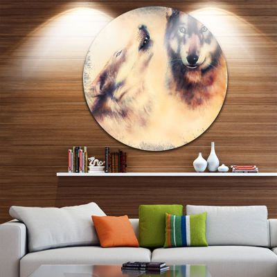 Design Art Howling Wolf Disc Animal Circle Metal Wall Art