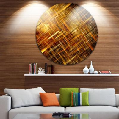Design Art Golden Mosaic Texture Abstract Circle Circle Metal Wall Art