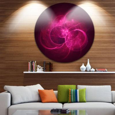 Design Art Glowing Magenta Circles Disc Abstract Circle Metal Wall Art