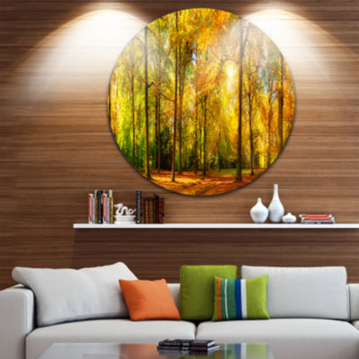 Design Art Gorgeous Autumn of Sunny Forest Disc Landscape Photography Circle Metal Wall Art