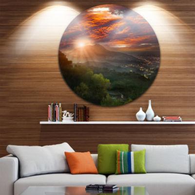 Design Art Guanyin Mountain Sunrise Taipei Disc Photography Circle Metal Wall Art