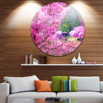 Design Art Japanese Cherry Flowers Disc Floral Circle Metal Wall Art
