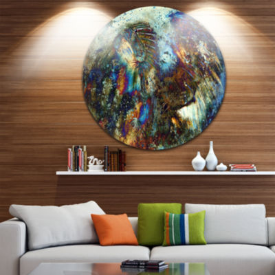 Design Art Indian Woman Collage with Lion Woman Metal Circle Wall Art