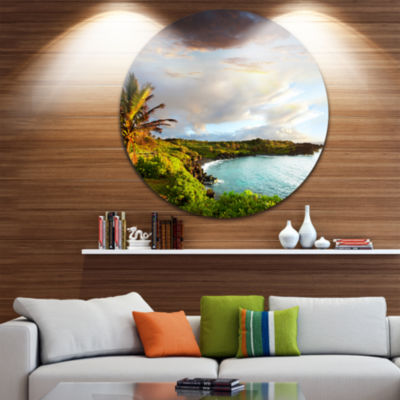 Design Art Hawaii Oahu Island Disc Photography Circle Metal Wall Art
