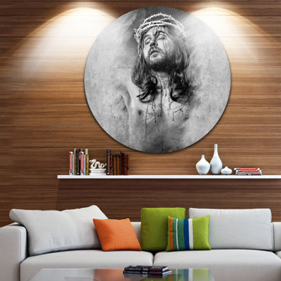 Design Art Jesus Christ Abstract Portrait Circle Metal Wall Art