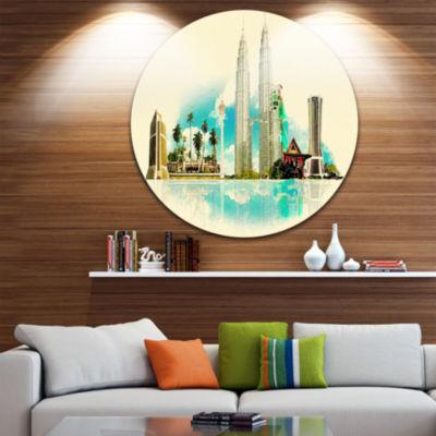 Design Art Kuala Lumpur Panoramic View Disc Cityscape Watercolor Circle Metal Wall Art