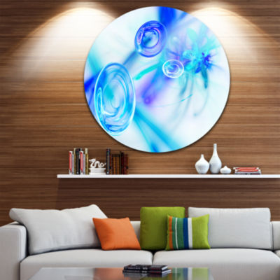 Design Art Light Blue Fractal Desktop Large Abstract Circle Metal Wall Art
