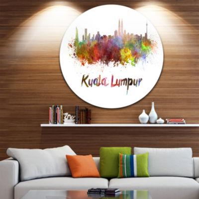 Design Art Kuala Lumpur Skyline Disc Cityscape Metal Artwork Print
