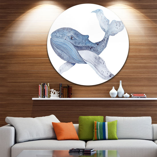 Design Art Large Watercolor Whale Disc Animal Circle Metal Wall Art