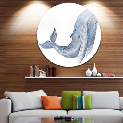 Design Art Large Whale Watercolor Disc Animal Circle Metal Wall Art