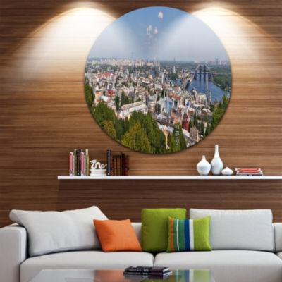 Design Art Kiev Cityscape Panorama Disc Photography Circle Metal Wall Art
