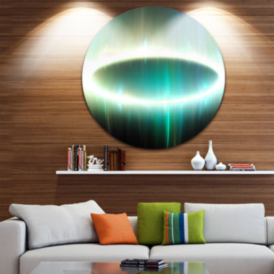 Design Art Large Green Oval Fractal Light AbstractRound Circle Metal Wall Decor