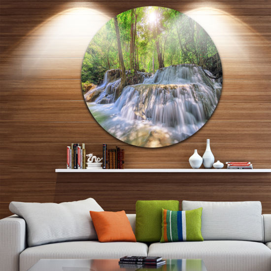 Design Art Kanchanaburi Waterfall Photography Circle Metal Wall Art
