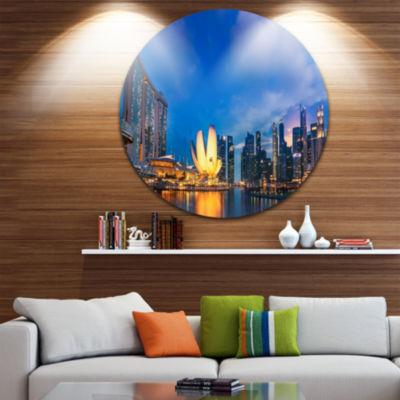 Design Art Landscape of Singapore Cityscape Disc Photography Circle Metal Wall Art