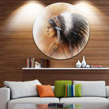 Design Art Indian Woman in Traditional Clothing Indian Artwork Metal Circle Wall Art